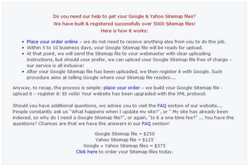 Google sitemap scam.