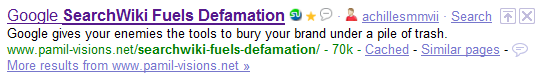 SearchWiki Fuels Defamation page indexed by Google.
