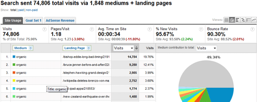 Google Analytics displaying the organic search traffic segment