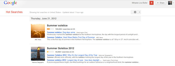 Google Hot Searches screenshot